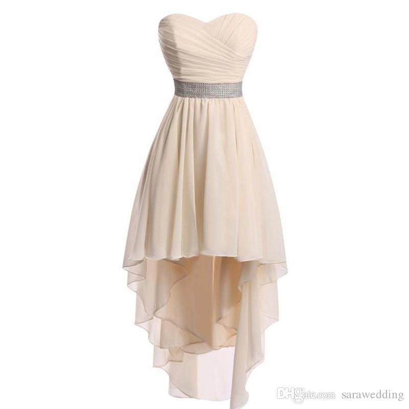 Şifon Yüksek Düşük Gelinlik Modelleri Lace Up 2019 Boncuklu Düğün Parti Elbise Lace Up Abito Damigella