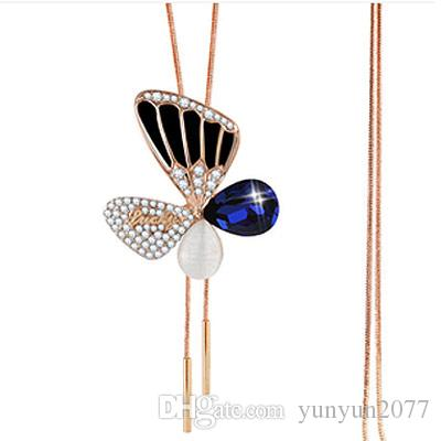 Fashion Design Inspiration Accessories Fine Jewelry Opal Czech Crystal Butterfly Pendant Real Gold Plating Charm Sweater Necklaces For Women
