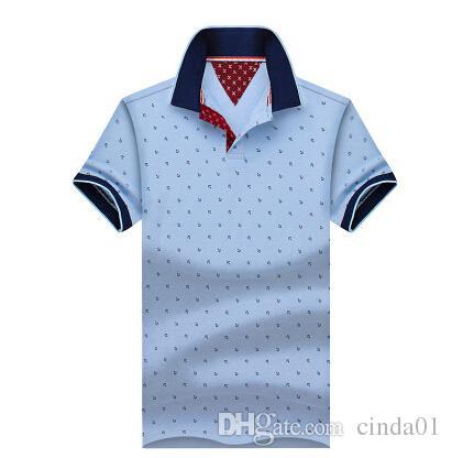 homens de negócios de moda camisas casuais algodão de manga curta Camisas gola camisa masculina lidera o transporte livre novo