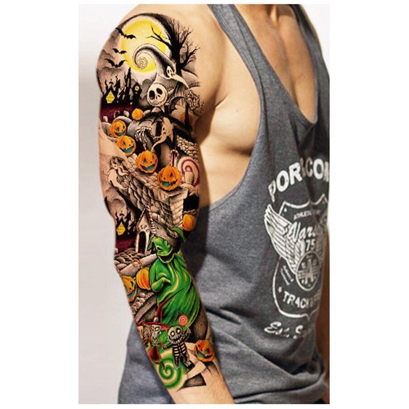 a2b0ccf1800fc Waterproof Temporary Tattoos Sleeve Body Art Men Women Colorful Fake Tattoo  Paper Tattoo Sticker Arm Stockings Fake Tattoos Tatooine Temporary Tattoos  ...