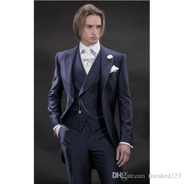 Mattina stile blu navy smoking dello sposo picco groomsmen bavero Best Man abiti uomo Blazer abiti da sposa giacca + pantaloni + vest + cravatta NO: 464