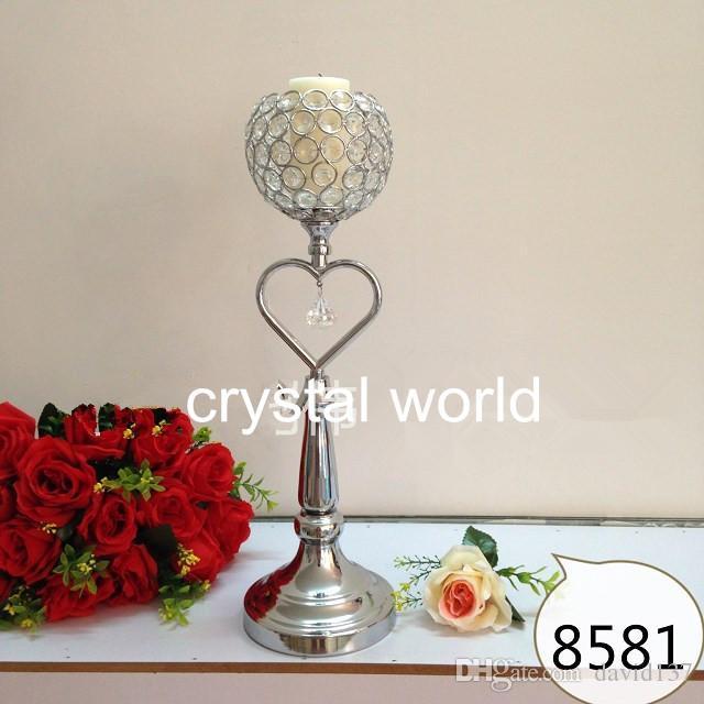 Мода Из Нержавеющей Стали Кристалл Алмаза Свадебные Свечи Holder12 Dicoration Свеча Подставка Серебрением Металла Candletick