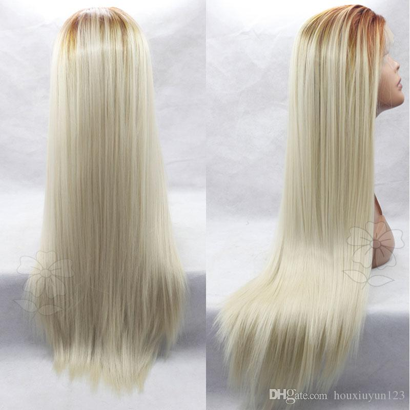 Fashion Long Ombre Blonde Straight Hair Wig Dark Root Straight Kanekalon Synthetic Natural Ombre Blond Lace Front Wig ForBlack Women