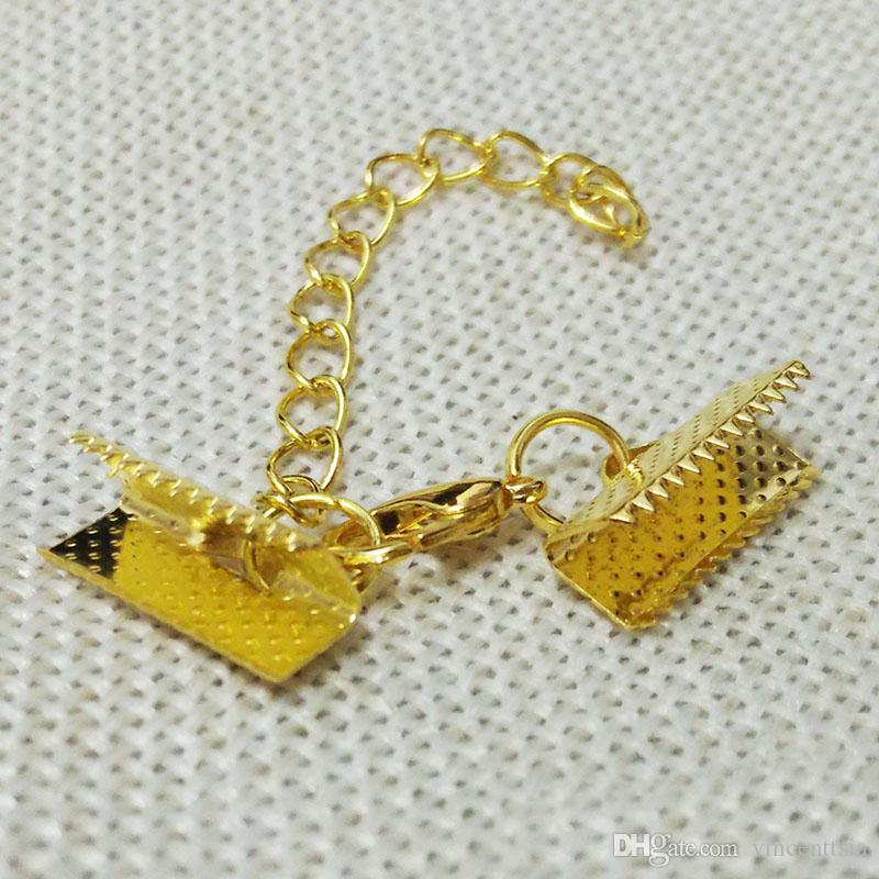 Crimp Enden Perlen Deckel Hummer Spangen springen Ringe Cords End Caps String Band Leder Clip Foldover Halskette Metall Steckverbinder