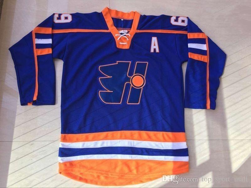 Haute Qualité 69 Doug Glatt The Thug Halifax Highlanders Film GOON Vintage Maillots de Hockey sur Glace Doug Glatt Pour Fans de Sport Équipe Couleur Bleu