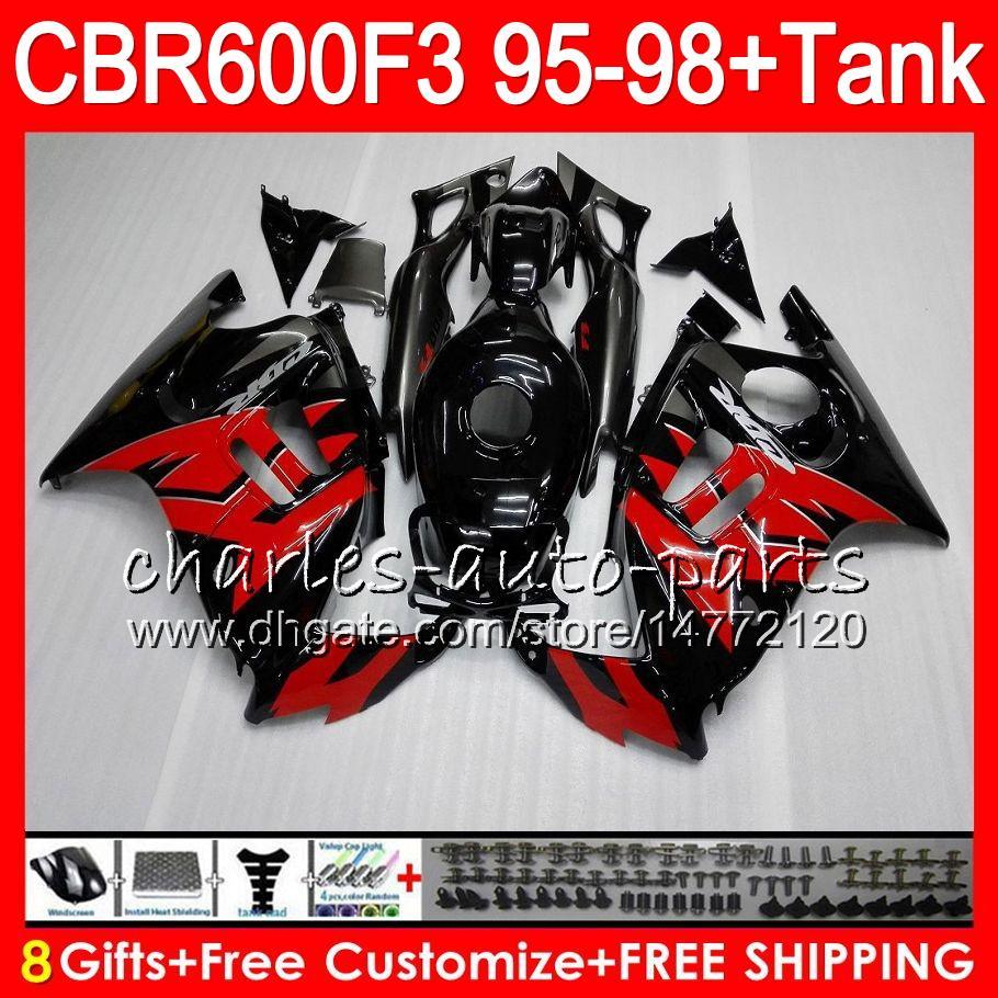 8 Gifts For HONDA CBR600F3 95 96 97 98 CBR600RR FS 2HM17 red flames CBR600 F3 600F3 CBR 600 F3 1995 1996 1997 1998 Fairing black