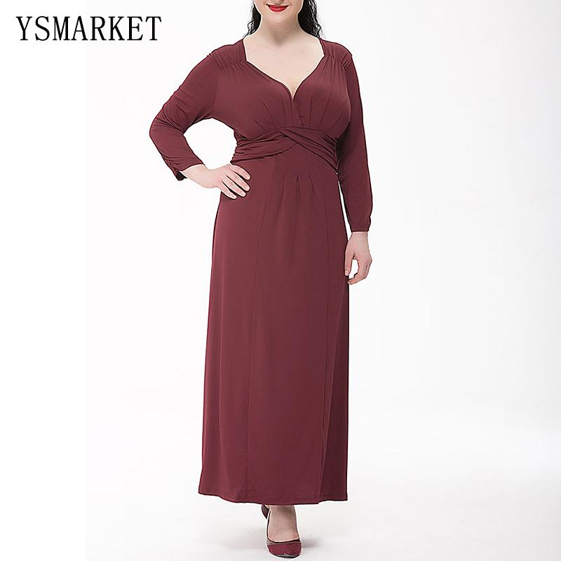 ea65d6a7f049 2017 Plus Size 6XL Womens Long Sleeve Dress A Line Draped Sexy V Neck Party  Elegant Clothing Solid Red Pleated Maxi Dress 0050 Spring High Waist Sweet  Midi ...
