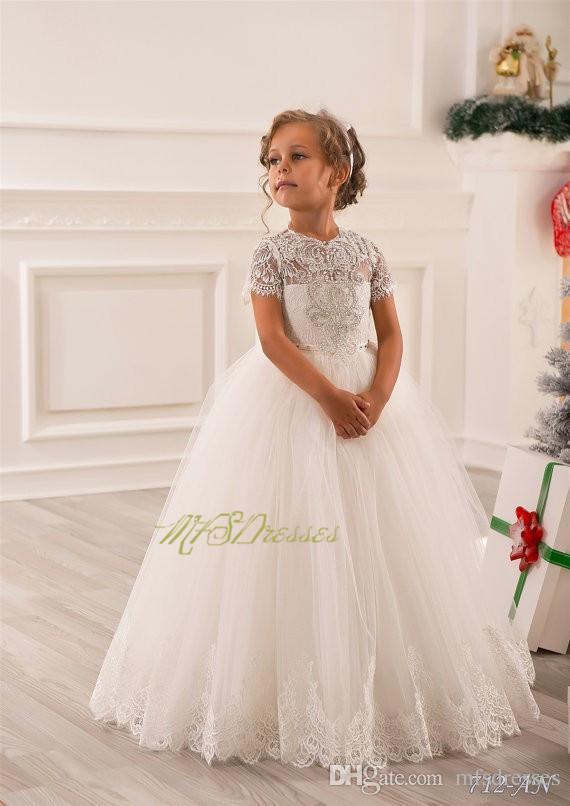 Pretty Scoop piso de longitud vestido de bola blanco vestidos de niña de flores con mangas cortas vestido de Navidad niñas vestido de fiesta formal de cumpleaños