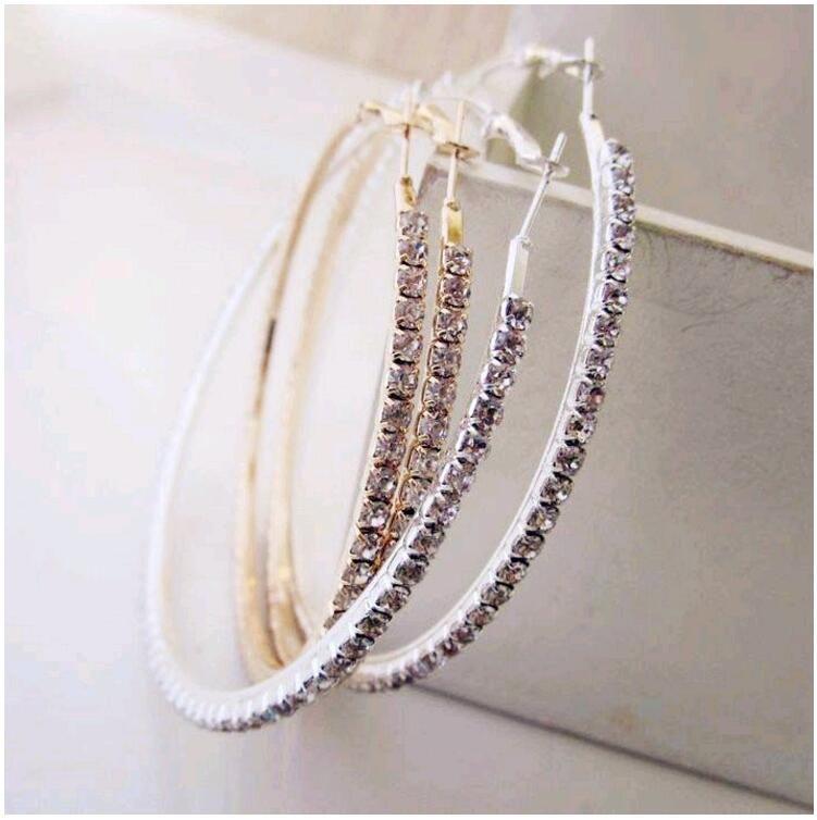 Exaggerated Pave Rhinestone Huggies Hoop Earrings CZ Diamonds 8cm 9cm Big Circle Real Gold Plated Stud Drop Earrings for Women