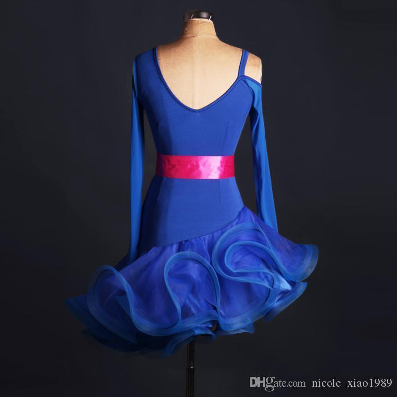 2017 New BLUE Latin Rumba Samba dance skirt dress costumes on the ballroom competition clothing long sleeved skirt can be customized