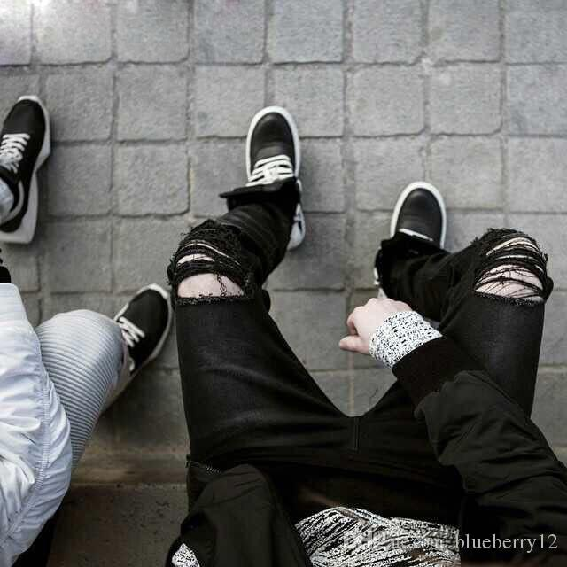 أزياء رجالي مستقيم صالح السائق جينز بنطلون المتعثرة نحيل ممزق دمرت الجينز غسلها الهيب هوب بنطلون أسود