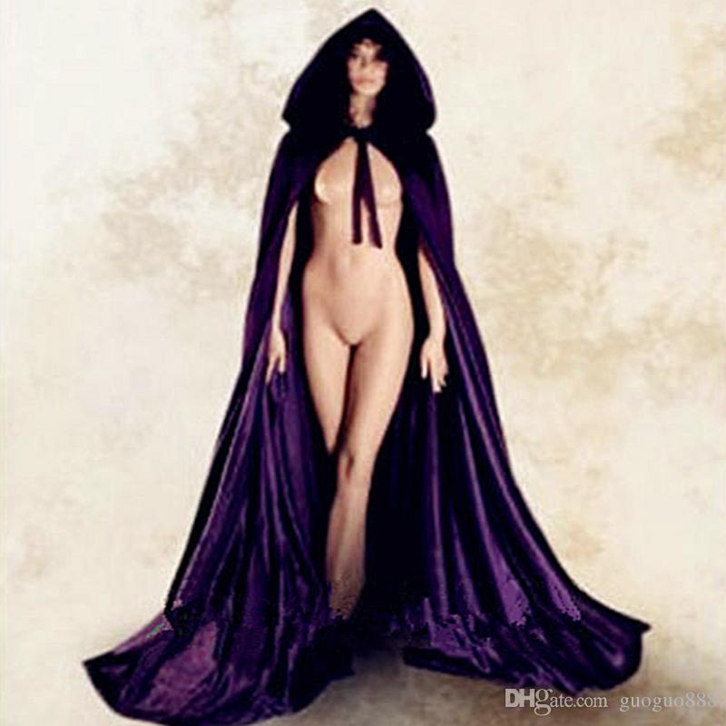 new Gothic-Hooded-Velvet-Cloak-Gothic-Wicca-Robe-Medieval-Witchcraft-Larp-Cape-A Gothic-Hooded-Velvet-Cloak-Gothic-Wicca-R
