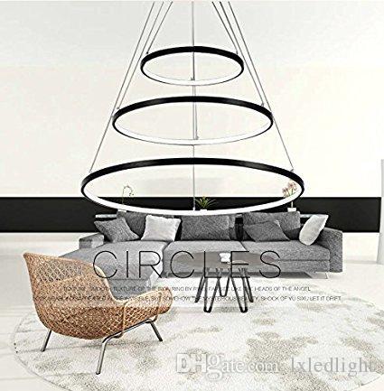lxledlight Preto Três Anéis 16 - 24 - 32 Polegadas Modern Pendant Ceiling Luminária de Teto LEVOU Iluminação