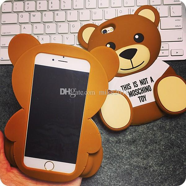 3D Cute Cartoon Brown Bear Soft TPU Silicone Rubber Case for iPhone 6 6s 7/ 6 Plus 7Plus/ 5s 5 SE Cell Phone Bags Cover