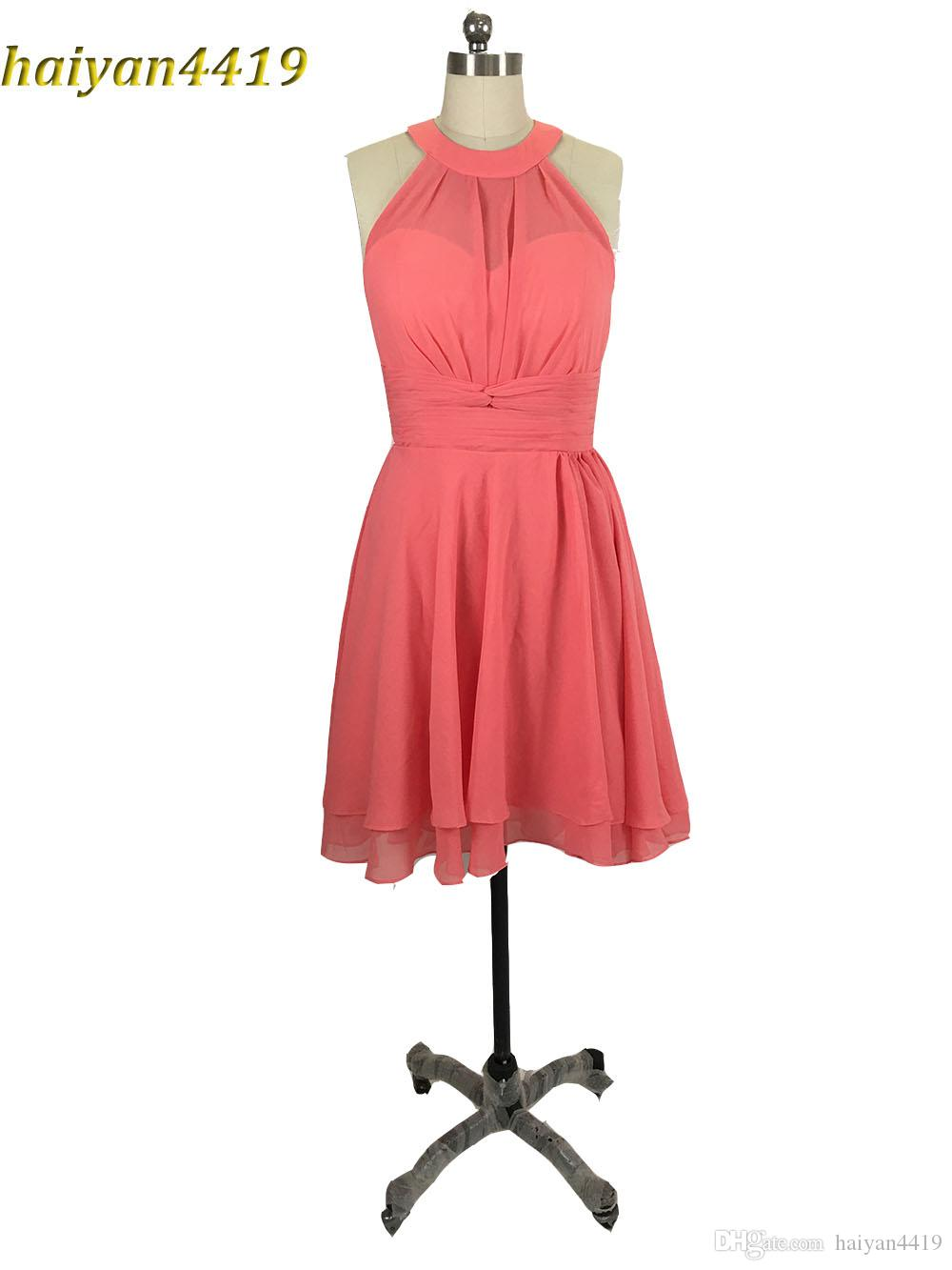 2017 New Real Image Country Beach Watermelon Bridesmaid Dresses ...