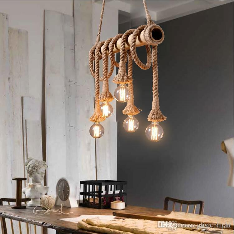 Vintage Rope Bamboo Hemp Ceiling Pendant Lights Retro Industrial Loft Bar  Hemp Rope Lamp Fixtures Lamparas Colgantes Luminaria Plug In Hanging Lamp  Designer ...