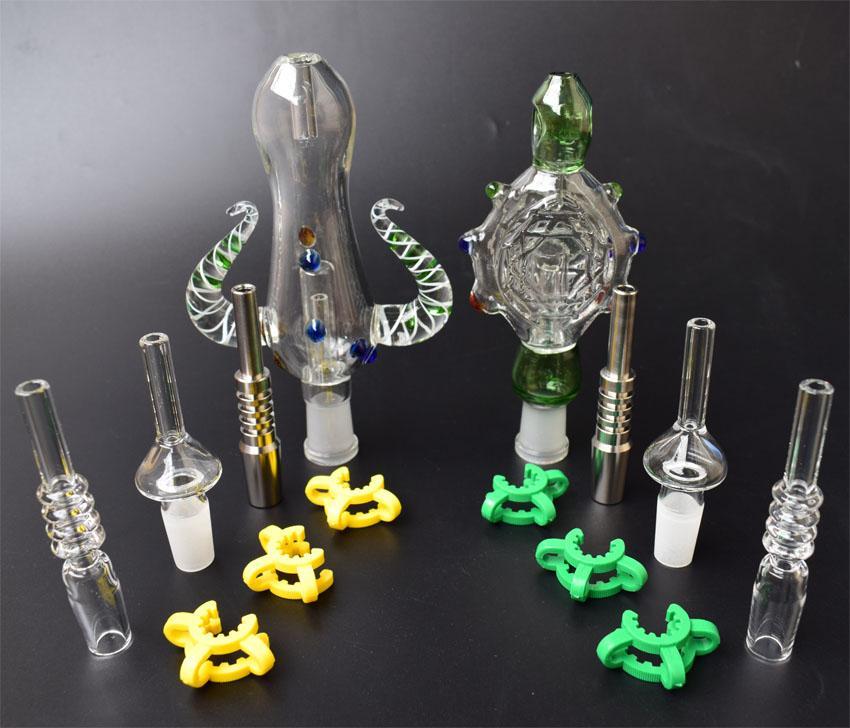 Mini Nectar Collector Kit tubo de vidro com 14 milímetros GR2 Dica Titanium prego Quartz ponta para plataformas petrolíferas vidro Bongs