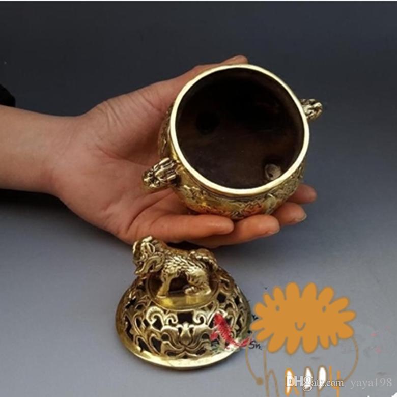 Brûleur d'encens en cuivre pur chinois licorne livraison gratuite