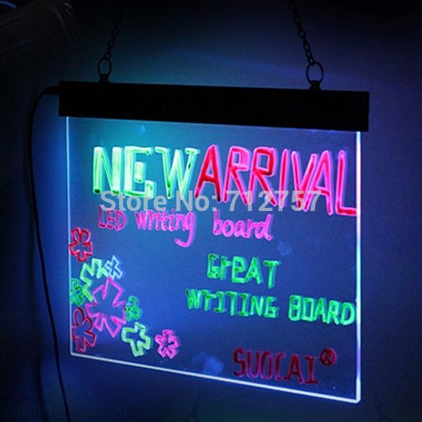 2PCS Flashing Illuminated Erasable Neon LED Message Writing Board Menu Sign  30x40cm