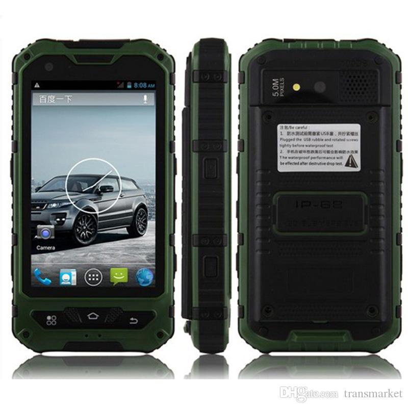 4.0 'A8 IP68 Robusto Android À Prova D' Água Smartphone desbloqueado telefone celular A8 MTK6582 Quad Core 1 GB de RAM 8 GB Sênior à prova de choque smartphone 3G GPS