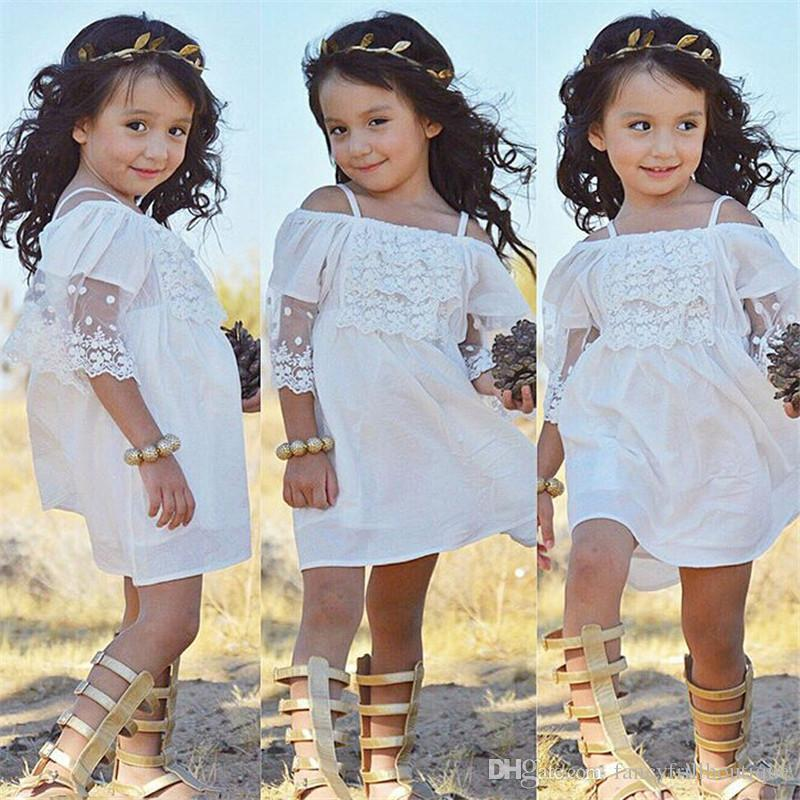 363840c1ede1 2019 Children Frocks Designs 2017 Ins Summer Baby Girl White ...