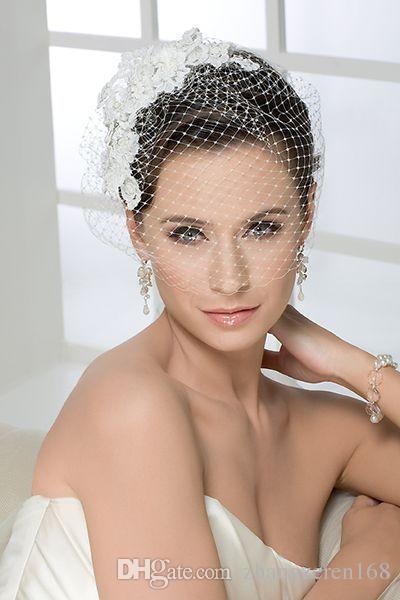 New Best Selling White Wedding Veils One Layer Short Tulle Flowers Bridal Veil Custom Cut Edge Birdcage