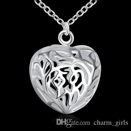 925 argent tridimensionnel creux coeur amour pendentif Fit Bracelet Collier Taille: 27mm * 26mm / Livraison gratuite