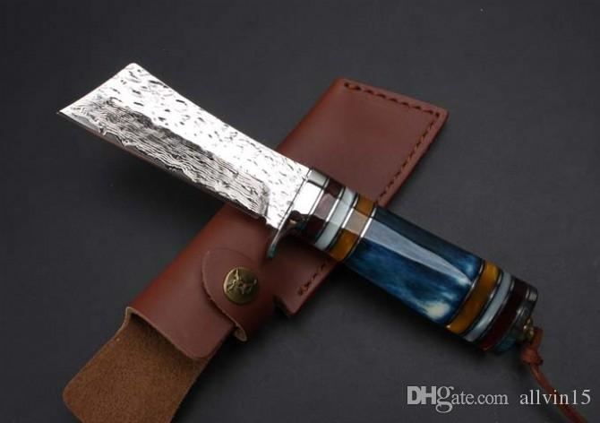 2017 New Damascus Steel Survival Straight Knife 60HRC Bone Handle Outdoor Camping Hunting Fixed Blade Knives with Leather Sheath