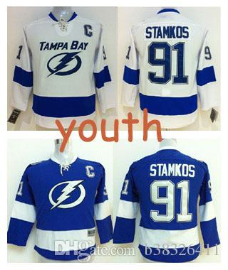 2018 kids lightning 91 steven stamkos jersey youth tampa bay lightning jerseys home blue white steve