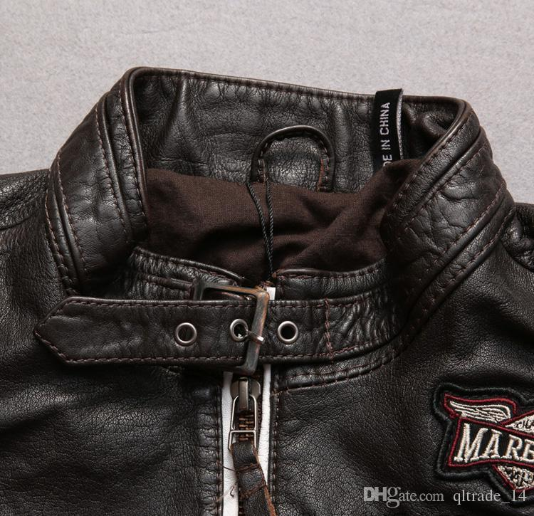 2018 limited edition marbobo classic 100% genuine leather jackets India head Embroidery back men motorcycle leather jacket