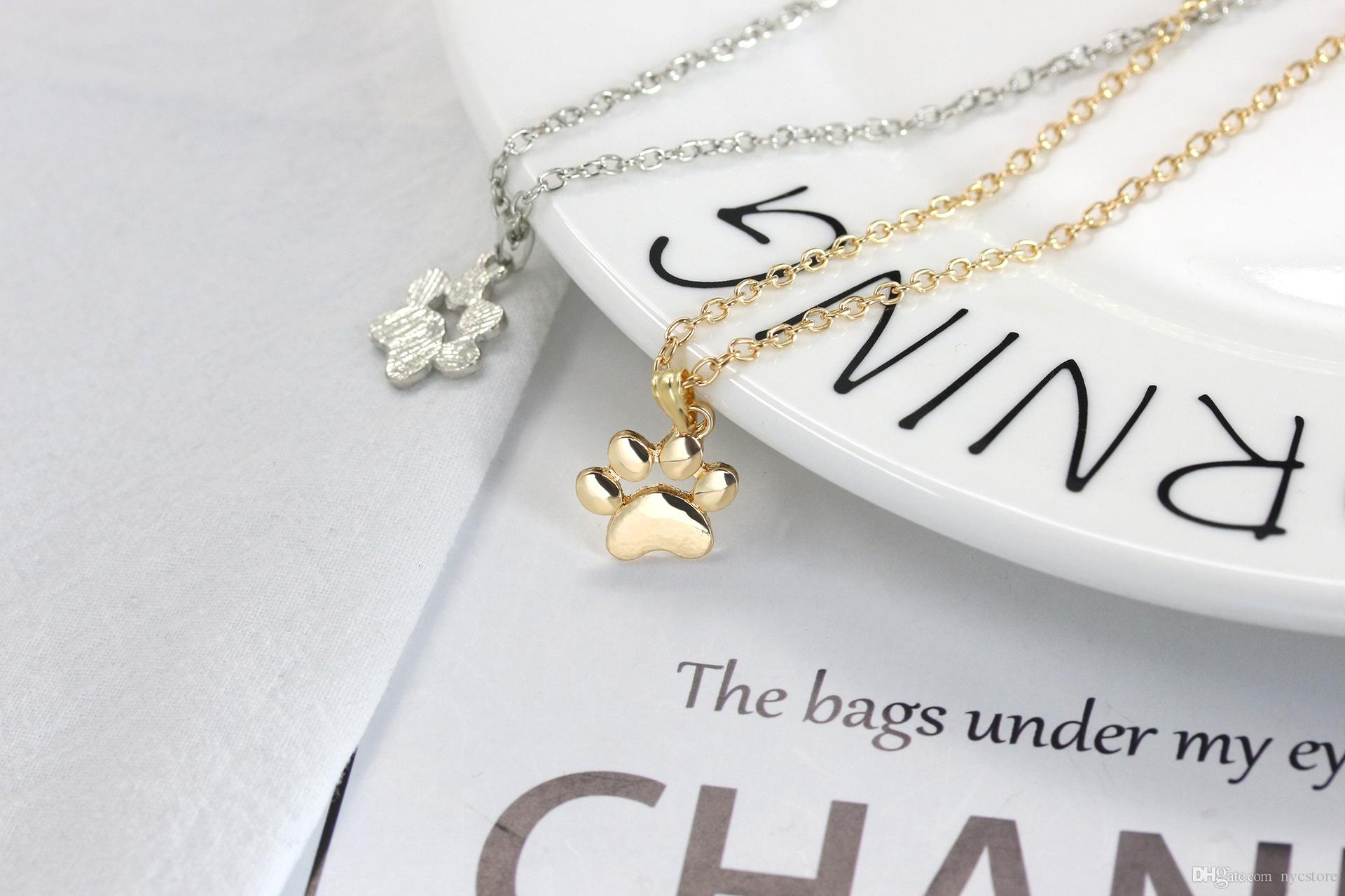 Metal alloy Cute animal cat paw feet necklace gold silver dog claw paws shaped pendant necklace women girl's fashion jewelry