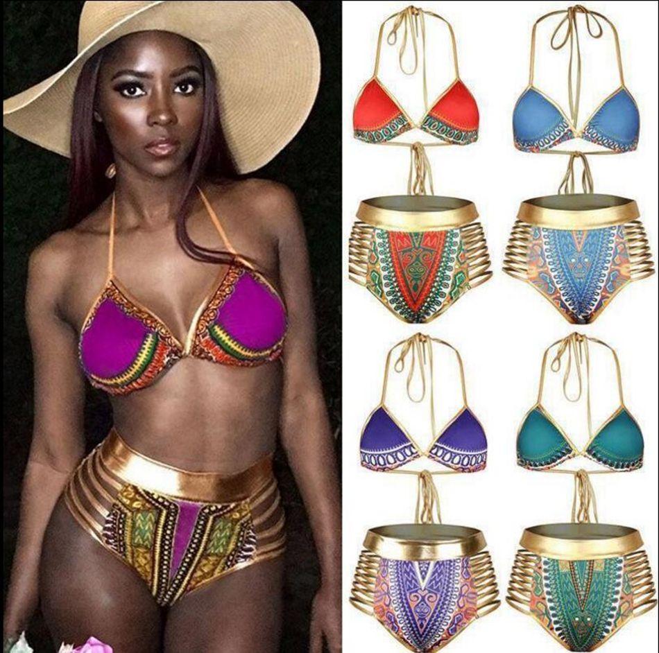 8427da947c9a South African Golden Halter Bikini de cintura alta traje de baño impreso  vendaje ahueca hacia fuera dos piezas traje de baño traje de baño de las ...