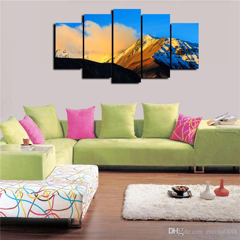 2018 5 Panels New Zealand Scenery Modern Abstract Canvas Oil Painting Print Wall Art Decor For Living Room Home Decoration Framed Unframed From Eternal888