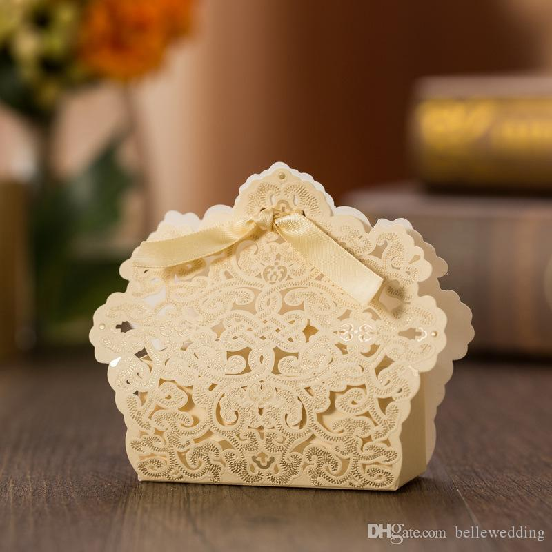Wedding Favor Holders Candy/Chocolate Bags Laser Cut Gilding Paper Gold With Ribbons Wedding Gift Boxes BW-FH0013