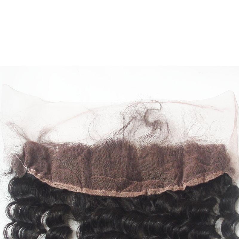 Ucuz Derin Dalga Dantel Frontal Ağartılmış Knot Hint Bakire Saç Kulak Kulak Dantel Kapatma İşlenmemiş İnsan Saç 8A Sınıf Doğal Siyah Renk
