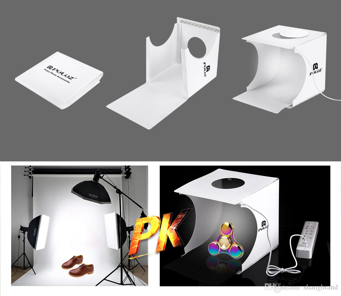 New 20*20*20CM Mini Photo Studio Box Portable Photography Backdrop Built-in Light Photo Box Little Items Photography Backdrop Box