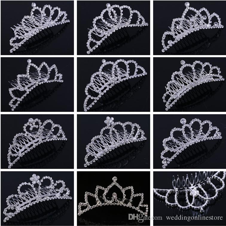 Shining Rhinestone Crown Girls 'Bride Bride Tiaras Fashion Crowns Capelli Combs Zuffali Bridal Accessori Accessori Party Hair Jewelry eventi di nozze