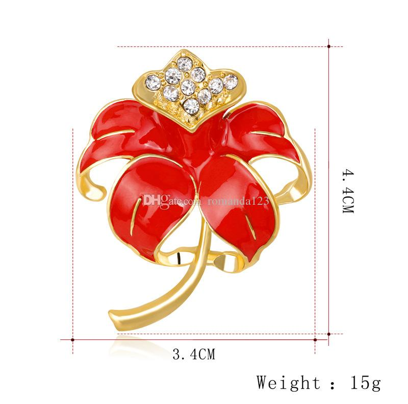 Enamel Rhinestone Red Poppy Brooch Pin Badge Golden Fashion Flower Remembrance Day Gift Jewelry Brooches DHL