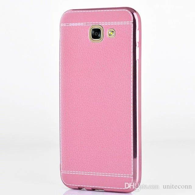 For Galaxy A3 A5 A7 2017 Note4 Note5 J5 J7 prime j510 j710 Luxury Litchi Grain Plating Soft Leather TPU Silicone Smartphone Case