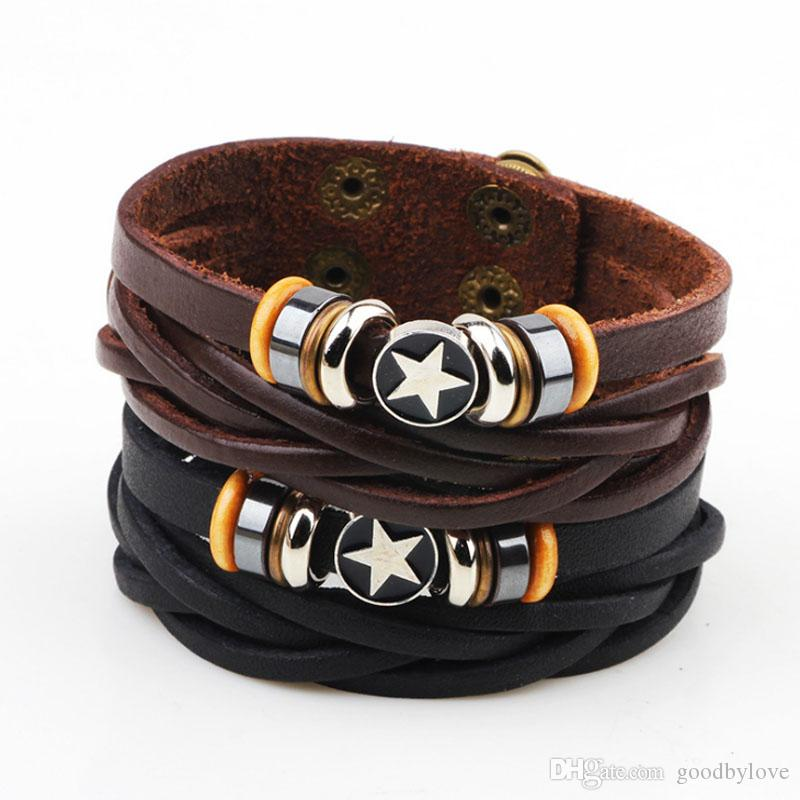 Unisex Mens Jewelry Punk Real Genuine Leather Brown Multi Layers Adjustable Wristband Pentacle Charm Bracelets Bangles for Party