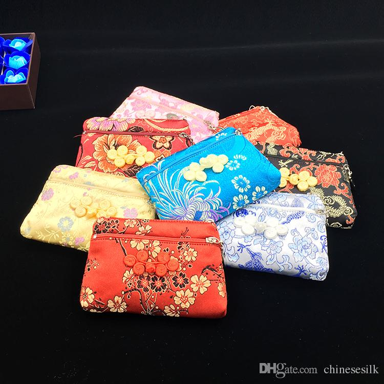 Elegant Vintage Small Women Wallet Double Zipper Bags Chinese Silk Brocade Coin Purse Jewelry Storage Bag Credit Card Holder