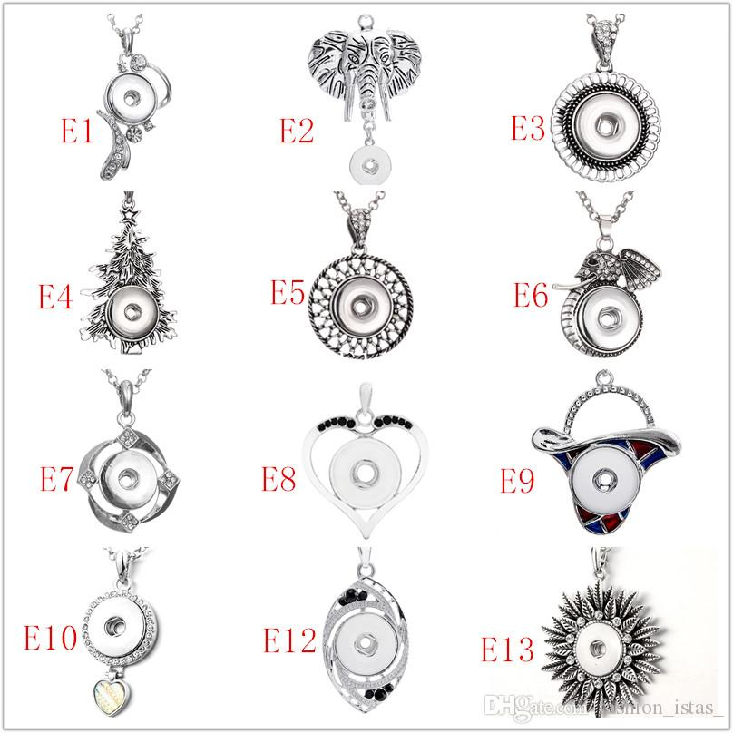 60 plenty of Styles Noosa Chunk Assorted Snap Buttons Pendant Necklaces Stainless Steel Chain Jewelry