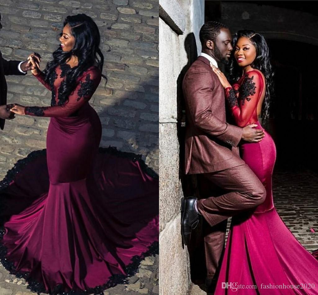 63285b139cb Burgundy Prom Dresses 2018 African Sexy Black Lace Appliques Beaded Open  Back Illusion Long Sleeves Mermaid Plus Size Evening Party Gowns Cheap Prom  Dresses ...