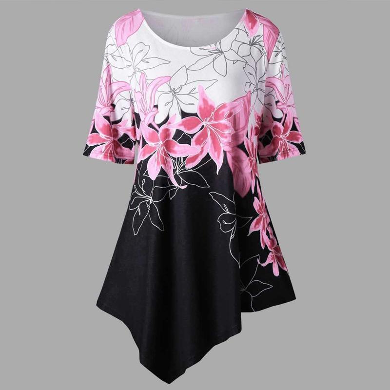 9ef560c7b7 2019 Plus Size 2018 Summer Peplum Tops Women Tunic Blouse Loose Asymmetric  Hem Floral Print Shirt Casual Blusas Ladies Clothing 5XL From Lemon888, ...