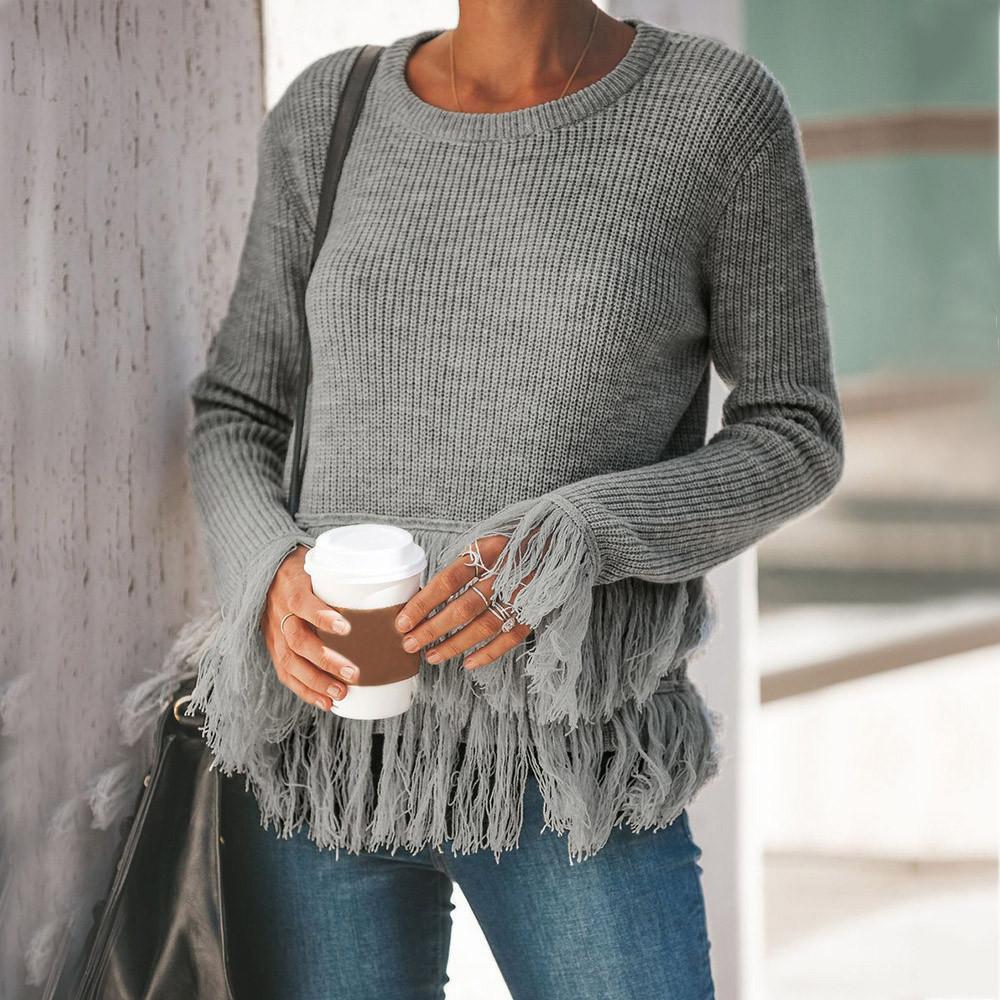 c5f1683cb6a Großhandel Mode Herbst Frauen Weg Von Der Schulter Pullover Lässig  Gestrickte Lose Langarm Pullover Pullover Quasten Warme Modelle Pullover  Von Jamie22