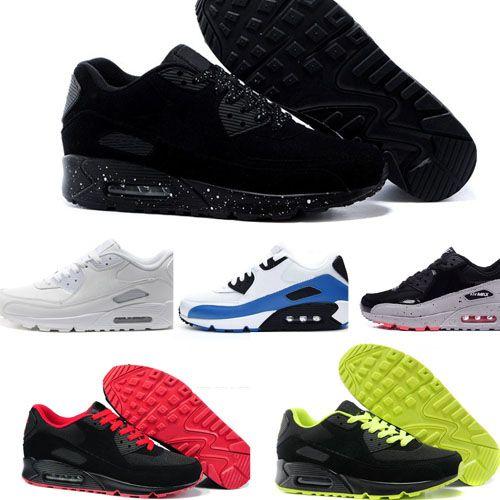 Compre De Deporte Para Hombre Zapatos Clásicos Deporte Negro Rojo Blanco Air  Max 90 Zapatillas De Deporte Zapatillas De Deporte De Superficie  Transpirable ... 2262bb627de1b