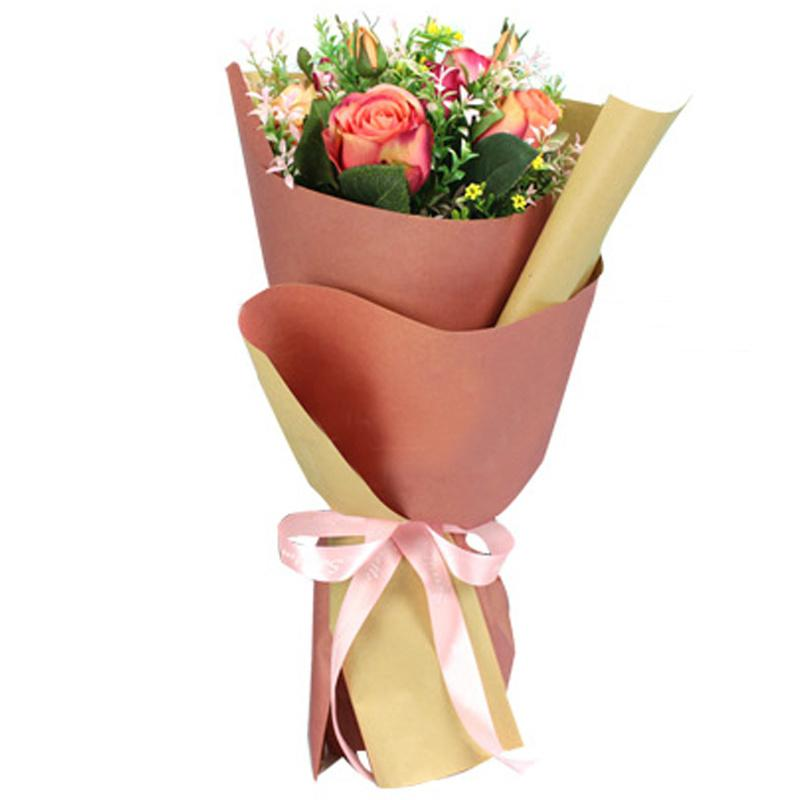 Double Color Floral Kraft Paper Flower Wrapping Paper Gift Packaging Supplies Florist Bouquet Valentines Day 10pcs Haif