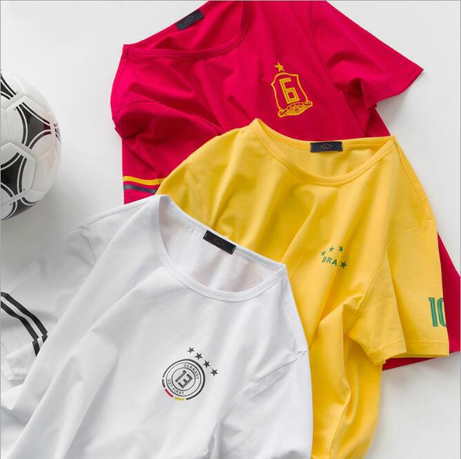 23ac6a11e 2019 2018 Russia World Cup Soccer Theme T Shirt Spain Brazil Sleeves  Germany Argentina France Portugal National Football Suit Football Jersey  From ...