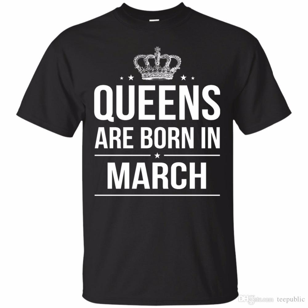 Print Logo On Shirt Mens Short Crew Neck Queens Are Born In March