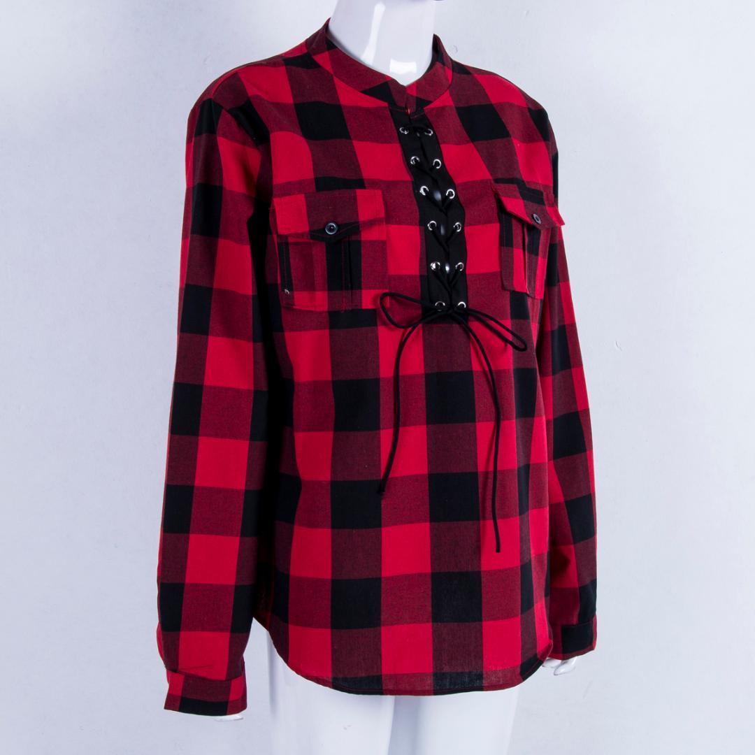 4cc435037b Compre Camisa A Cuadros Del Tamaño Extra Grande Para Mujer Caída Del Otoño  De La Manga Larga De La Ropa A  42.11 Del Bairi